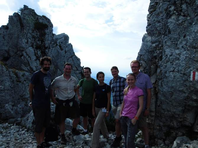 the theoreticians, in the Bavarian alps (photo courtesy of A. Alexandrova). From left to right: D. Glowacki (Bristol), T. Jacob (Ulm), T. Miller (CalTech), A. Alexandrova (UCLA), A. Tkatchenko (Berlin), B. Strodel (Julich), and L. Jensen (Penn State)