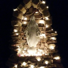 night-time installation of the holy mother